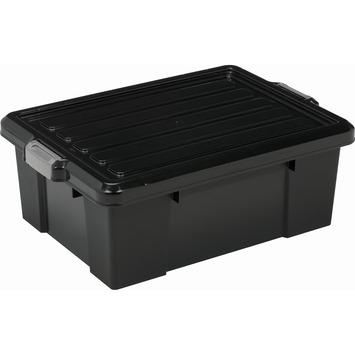 Boîte de rangement Power 43 L noir avec clips gris avec couvercle
