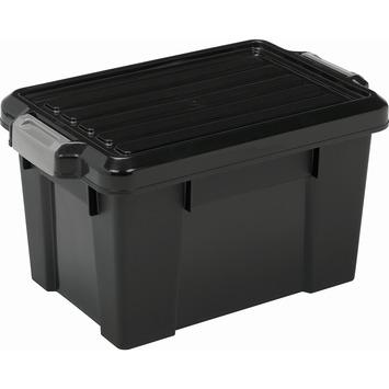 Power opbergbox 68 liter zwart met grijze clips inclusief deksel