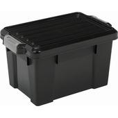 Boîte de rangement Power 68 L noir avec clips gris avec couvercle
