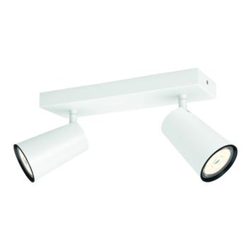 Support 2 spots Paisley Philips 2x GU10 sans ampoules max. 10 W blanc
