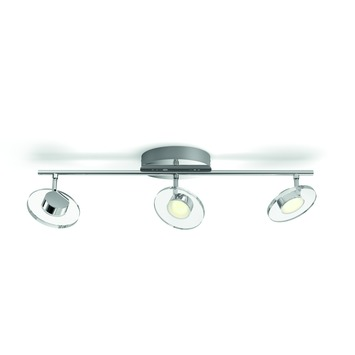 Support 3 spots Glissette Philips LED intégrée 3x 4,5 W inox
