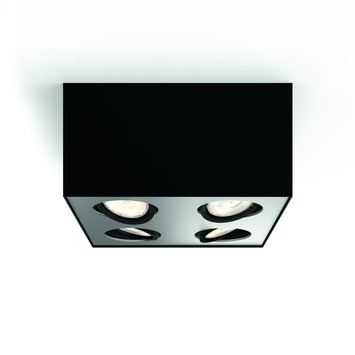 Support 4 spots Box Philips LED intégrée 4x 4,5 W noir