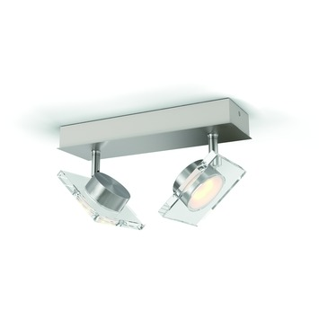 Support 2 spots Golygon Philips LED intégrée 2x 4,5 W inox
