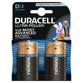 Piles Duracell Ultra Power type D 2 pièces