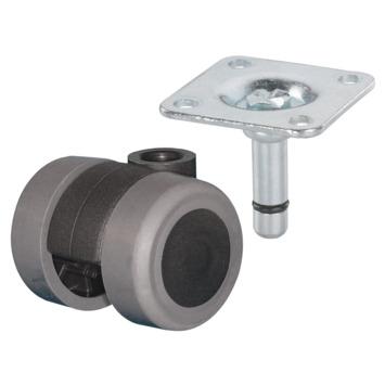 Roulette pivotante TPE avec plaque à visser 35 mm 70 kg