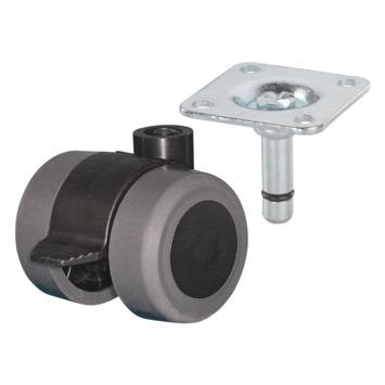 Roulette pivotante double avec frein et plateau 35 mm max 70 kg