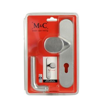 Garniture de sécurité porte d'entrée M&C bouton/poignée aluminium