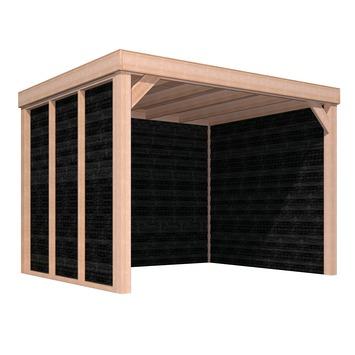 Auvent Douglas 270x330 cm 2 parois planches à clin noir