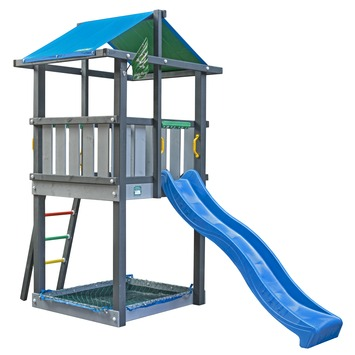 Tour de jeux Jungle Gym Hut avec toboggan bleu