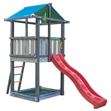 Jungle Gym Hut met rode glijbaan