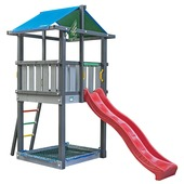 Jungle Gym Hut met rode glijbaan