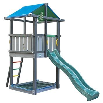 Tour de jeux Jungle Gym Hut avec toboggan vert foncé