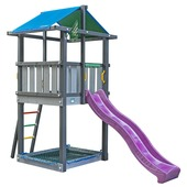 Jungle Gym Hut met fuchsia glijbaan