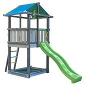 Jungle Gym Hut met lichtgroene glijbaan