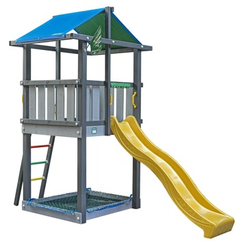 Tour de jeux Jungle Gym Hut avec toboggan jaune