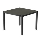 Table 90x90 cm piétement aluminium anthracite, plateau en céramique Luxury cement