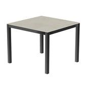 Table 90x90 cm piétement aluminium anthracite, plateau en céramique Uptown light