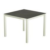 Table 90x90 cm piétement aluminium blanc, plateau en céramique Luxury cement