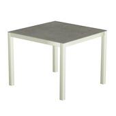 Table 90x90 cm piétement aluminium blanc, plateau en céramique Uptown dark