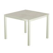 Table 90x90 cm piétement aluminium blanc, plateau en céramique Uptown light