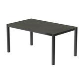 Table 150x100 cm piétement aluminium anthracite, plateau en céramique Luxury cement