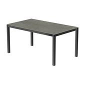 Table 150x100 cm piétement aluminium anthracite, plateau en céramique Uptown dark