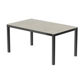 Table 150x100 cm piétement aluminium anthracite, plateau en céramique Uptown light