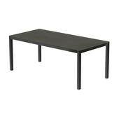 Table 200x100 cm piétement aluminium anthracite, plateau en céramique Luxury cement