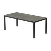 Table 200x100 cm piétement aluminium anthracite, plateau en céramique Uptown dark