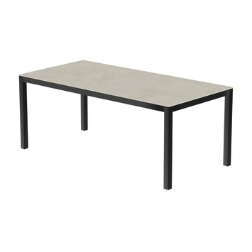Table 200x100 cm piétement aluminium anthracite, plateau en céramique Uptown light