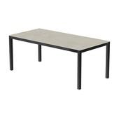 Table 200x100 cm piétement aluminium anthracite, plateau en céramique Uptown light