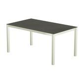 Table 150x100 cm piétement aluminium blanc, plateau en céramique Luxury cement