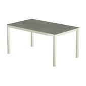 Table 150x100 cm piétement aluminium blanc, plateau en céramique Uptown dark
