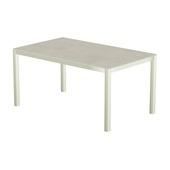 Table 150x100 cm piétement aluminium blanc, plateau en céramique Uptown light