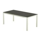 Table 200x100 cm piétement aluminium blanc, plateau en céramique Luxury cement