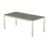 Table 200x100 cm piétement aluminium blanc, plateau en céramique Uptown Dark