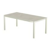 Table 200x100 cm piétement aluminium blanc, plateau en céramique Uptown light