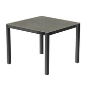Table 90x90 cm piétement aluminium anthracite, plateau en céramique Uptown dark