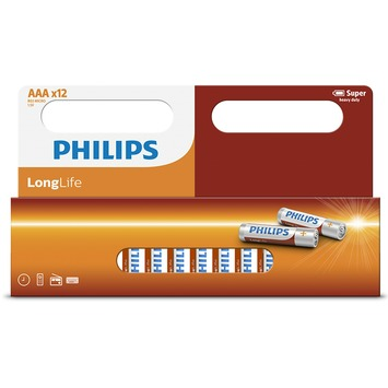Piles AAA Philips Longlife 12 pièces