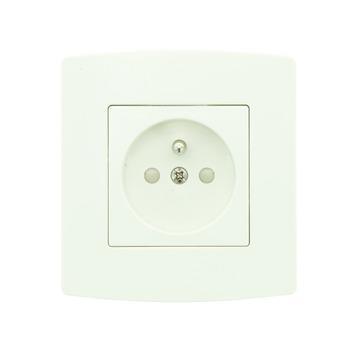 Profile stopcontact 2-polig met aarding + afdekplaat enkelvoudig wit