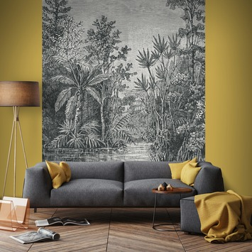 Fotobehang Jungle zwart-wit (105411)