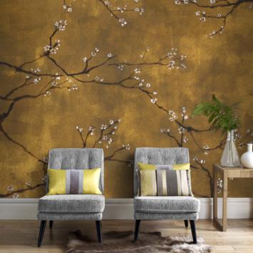 Papier peint photo motif floral chinois doré 105415