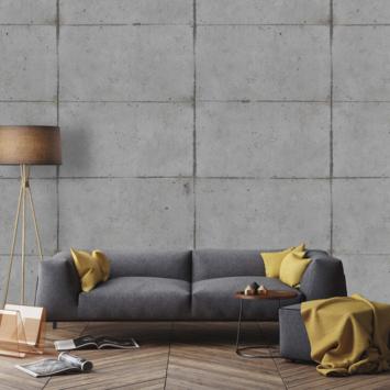 Fotobehang Betonblokken grijs (105412)