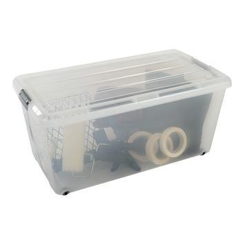 Boîte de rangement plate 70 L transparent avec couvercle
