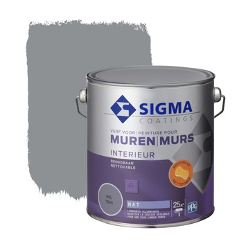 Sigma muurverf reinigbaar mat 2,5 L RAL 7045