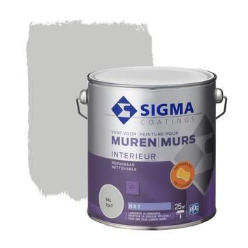 Sigma muurverf reinigbaar mat 2,5 L RAL 7047