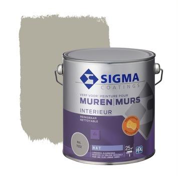 Sigma muurverf reinigbaar mat 2,5 L RAL 7032