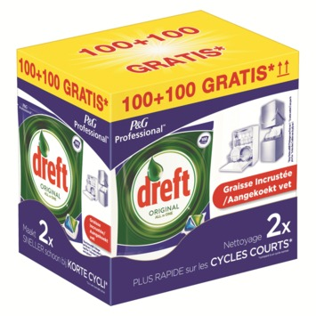 Tablettes lave-vaisselle tout en 1 Dreft 100+100 gratuites