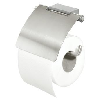 Porte-papier WC avec couvercle Cliqit Tiger inox/gris