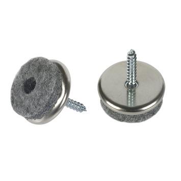 Patin de feutre Suki à vis 20 mm nickelé 8 pièces